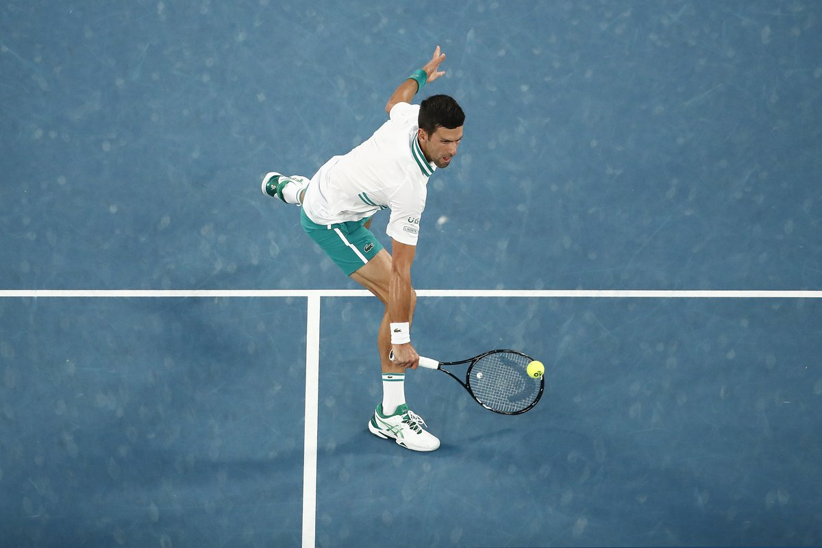 """TENNIS on Twitter: """"After a strong start from both players, @DjokerNole surges to the first set, 6-3, vs. Aslan Karatsev. Djokovic fired 6 aces, including two to close out a one-set lead. #"""